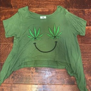 UNIF OG Weed leaf Smiley Geeen Crop Top